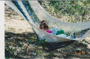 But wait a few months! My granddaughter in the hammock I bought in Costa Rica